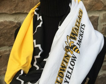 Baldwin Wallace - Infinity Upcycled T shirt Scarf - Double Loop - Yellow Jackets