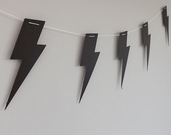Black Lightning Bolt guirnalda de papel | Decoración del partido | Empavesado de Harry Potter