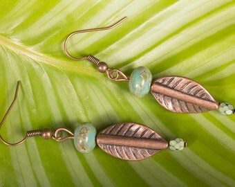 Spring leaf earrings in copper