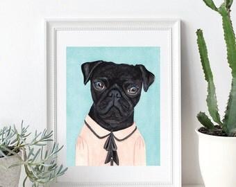 Pug Illustration Art Print, Animal Portrait, Hipster Print, Hipster Art, Art Print, Wall decor, Illustration Print, Artwork