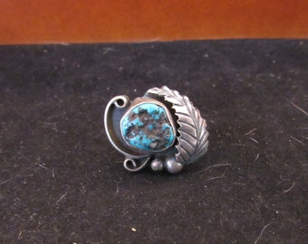 Wonderful Size 6 Sterling Silver Native Southwest Style Turquoise RIng (E 713)