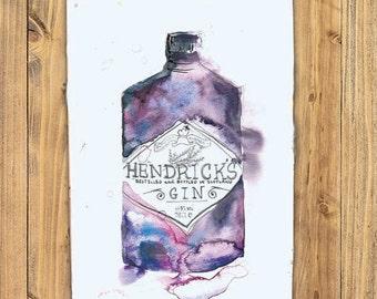 vibrant tea towel with Hendricks Gin design