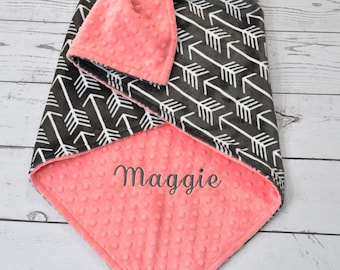 Monogrammed minky Baby blanket-Personalized Arrow Baby Blanket-Tribal Minky blanket-Arrow Minky Blanket-baby boy girl blanket-Tribal minky