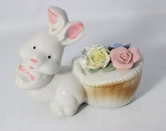 Porcelain Figurine Bunny Rabbit with Basket of Flowers