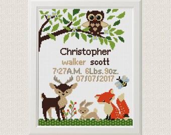 Baby cross stitch pattern pdf birth sampler birth announcement woodland Fox Deer Owl Cross Stitch Gift personalized unique baby boy diy gift