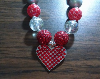 Valentine's Day Big Red Heart Chunky Bubblegum Necklace
