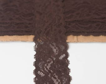 2 inch brown Elastic lace, elastic by the yard, brown lace fabric stretch elastic headband, elastic hair ties, wholesale elastic lace trim