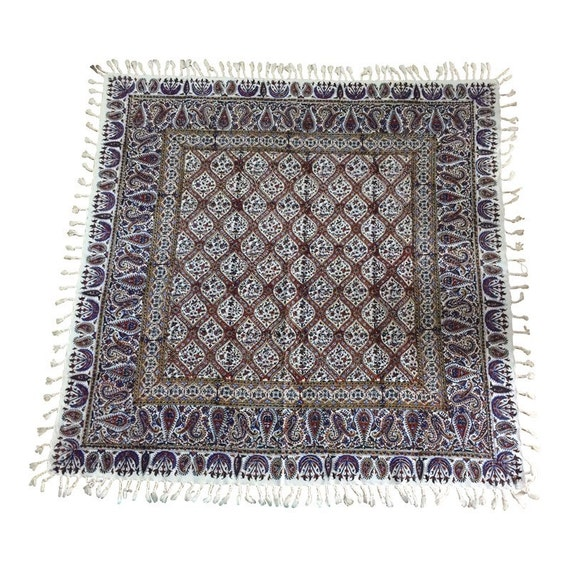 """Hand block printed Square tablecloth, 39"""" inches natural dyes tapestry art with tassels"""