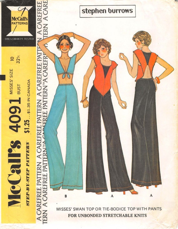 Stephen Burrows pattern for a swan top or tie-bodice top with pants - McCall's 4091