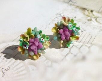 Succulent jewellery Succulents earrings Unusual jewelry Succulents stud earrings Mint earrings Cute earrings Dusty mint succulent earrings