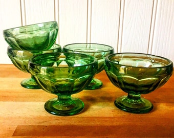 Retro green glass ice cream bowls .. set of 5