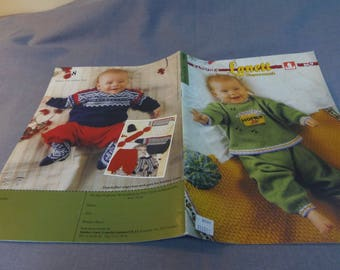 Knitting Patterns for Baby, Sandnes Lanett Superwash Size 0-4 Nordic, OOP Fiber Arts Bright Colors Stripes Snowflakes