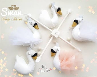 Swan Baby Mobile - Crib Mobile - Cot Mobile - Animal Mobile - Bird Mobile - White Mobile - Nursery Mobile - swan mobile