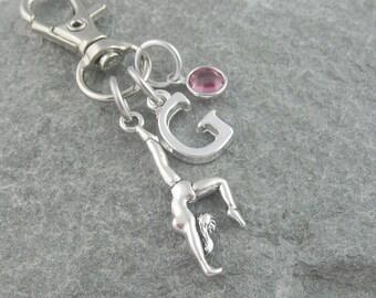 Gymnast purse charm, zipper charm, gymnast bag charm, personalized gift, swarovski birthstone, gymnastics gift, initial purse charm, sports