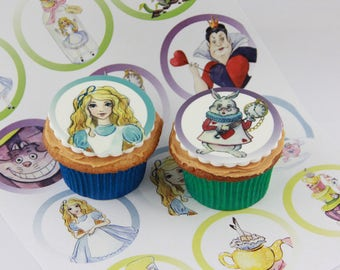 Alice in Wonderland edible Cake Toppers, 12 fondant cake decorations or party favour treats