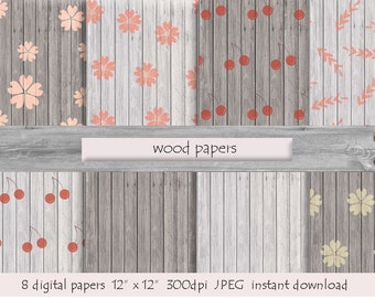 WOOD DIGITAL PAPER Wood Paper Printable Wood Background Pattern White Cherry Wood Instant Download Wood Digital Background Wood Backdrop