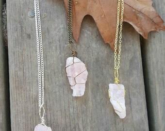 Rough rose quartz necklace