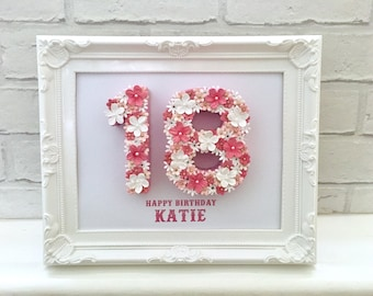 18th birthday idea, 18th birthday gift, Gift for 18th, Happy 18th birthday, Floral table numbers, Floral number frame, Special birthday gift