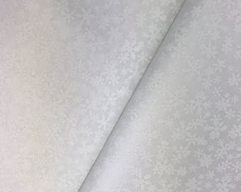 "End of Bolt, White on White Snowflake Cotton Fabric From Wilmington Prints - White Tonal Fabric, 19""x44"""