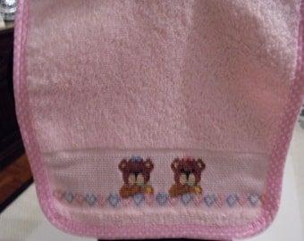 Baby bib- cross stitch bib- handmade teddy bears bib- cotton bib- baby gift- baby Shower Gift- hand embroidered- cross stitch- teddy bears