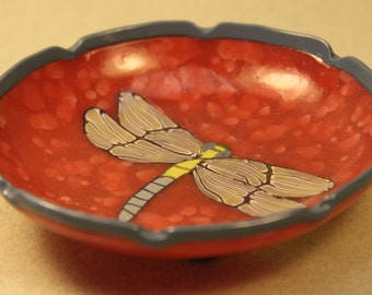 Dragonfly Bowl in Raspberry Pink