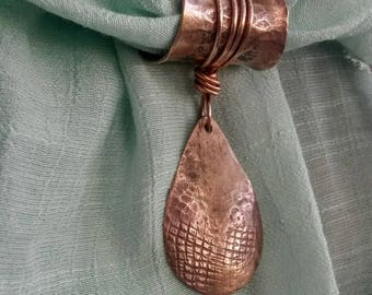 Teardrop textured hammered copper scarf pendant