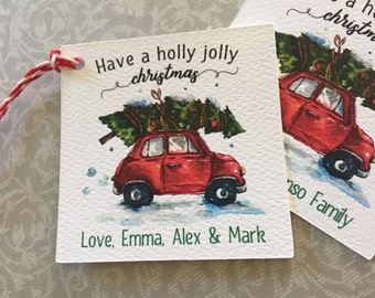 Christmas Gift Tags,Christmas Car with Tree Tags,Holiday Tags,Have a Holly Jolly Christmas Tags,Watercolor Gift Tags,Christmas Tags