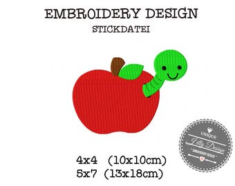 Embroidery Design File Worm in Apple School 4x4 5x7