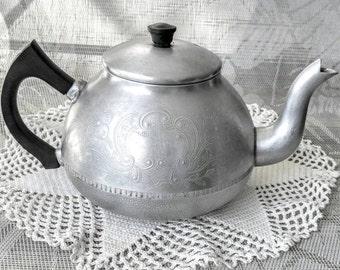 Vintage Tea Pot Hammered Aluminum EnglishTea Kettle Hammered Aluminum Embossed Floral Pattern, Swan Carlton England Kitchen Home Decor
