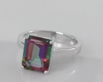 4.08 cts Natural Mystic Fire Topaz Sterling Silver Ring