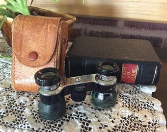Vintage opera theatre binocular original leather case French Petite 25X mark theater optic glasses