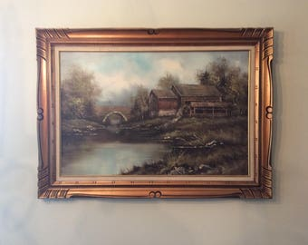 Historic Mabry Mill signed oil painting Blue Ridge parkway Roanoke Virginia