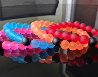 Pink Aqua Orange Red Jelly & Matte Black Onyx bead bracelet for Men Stretch 10mm Lokai Design