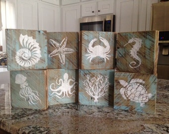 Rustic, Distressed, Barnwood, Ocean, Sealife Blocks