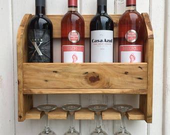 wall mounted wine rack 4 bottles 4 glasses