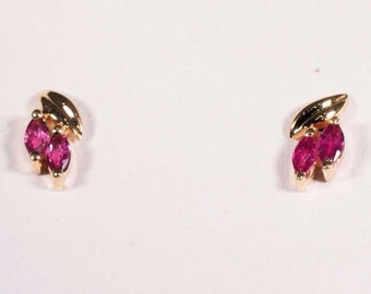 14K Yellow Gold Marquis Cut Pink sapphire Earrings