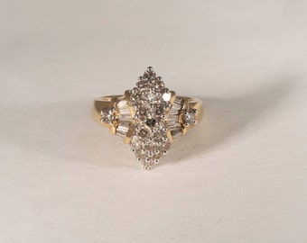 14K Yellow Gold 1.5 ct. tw. Diamond Cluster Ring, size 6.5