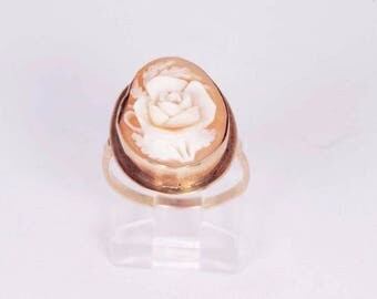 14K Yellow Gold Rose Cameo Ring, size 4.75