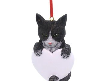 Black & White Cat Personalized Christmas Ornament, Ornament, Cat, Feline Personalized, Cat Personalized Christmas Ornament, black and white