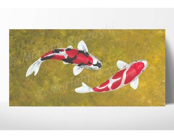Koi Carp Original Painting 12x24 inch acrylic on canvas. Ying yang, Koi art, wall decor.