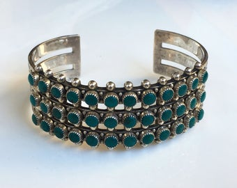 Vintage Sterling Silver Petit Point Turquoise Cuff Bracelet