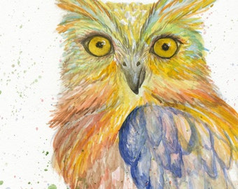 Owl Watercolor Print, Night Owl Print, Owl Art, Owl Nursery Wall Decor, Owl Painting