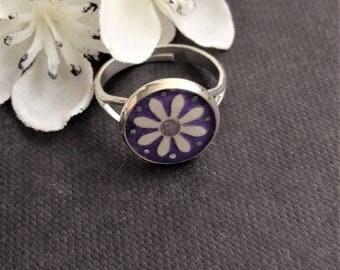 Handmade White and Purple Papercut Flower Ring - Purple Flower Ring - Adjustable Flower Ring - Jewellery Gift - Bridesmaid Gift - Flower