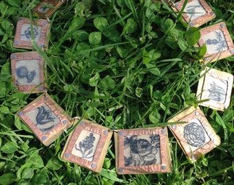 Vintage Botanical Flower Garden Necklace Copper Brass Frame Rose Thistle Tulipw