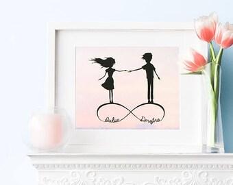 Custom Print, Wedding Prints, Custom Illustration. Engagement Gift, Love Gifts, Newlywed Gift, Boyfriend Gift, Personalized Girlfriend Gift