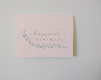 Birthday Card // Simple Leaves // Watercolor