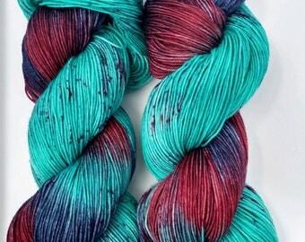 Melba- Hand dyed yarn, sock weight, Superwash Merino, 463 yards