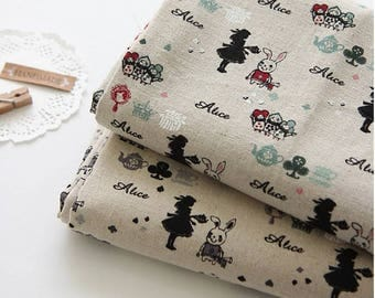 """Alice in Wonderland Character Linen Fabric made in Korea 18"""" X 55"""" by the Half Yard"""