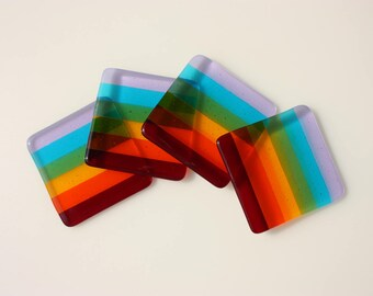 Rainbow fused glass coasters, set of four drink coasters