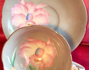 Pretty In Pink-and Gray- Hand Painted Shafford Teacup and Saucer Japan